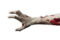 Τρομακτικό χέρι zombie που απομονώνεται στο λευκό διανυσματική απεικόνιση