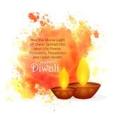 Τρομερές επιθυμίες φεστιβάλ diwali με τον παφλασμό και το diya watercolor Στοκ Εικόνα