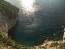 Τρομερή άποψη από την κορυφή του βράχου, Ζάκυνθος, Ελλάδα Στοκ φωτογραφία με δικαίωμα ελεύθερης χρήσης