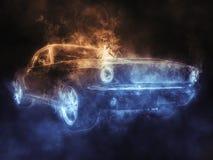 Τρομερό εκλεκτής ποιότητας αυτοκίνητο μυών - δίχρωμη επίδραση καπνού διανυσματική απεικόνιση