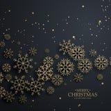 τρομερό μαύρο υπόβαθρο με χρυσά snowflakes για το εύθυμο christma Στοκ Εικόνες