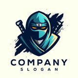 Τρομερό σχέδιο λογότυπων ninja έτοιμο να χρησιμοποιήσει διανυσματική απεικόνιση