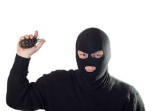 τρομοκράτης μασκών χειροβομβίδων Στοκ Εικόνες