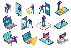 Τρομοκρατικό Isometric σύνολο Cyber ελεύθερη απεικόνιση δικαιώματος