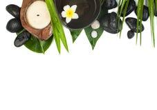τροπικά αντικείμενα SPA με το κερί και τα μεγάλα φύλλα στοκ εικόνες