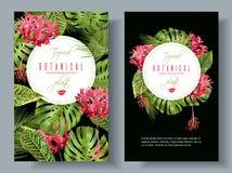 Τροπικά κάθετα εμβλήματα λουλουδιών Στοκ εικόνες με δικαίωμα ελεύθερης χρήσης