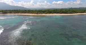 Τροπικά νησιά ατολλών παραδείσου ειρηνικά Τοπ όψη Εναέριο βίντεο άποψης ματιών πουλιών ` s κηφήνων στα κύματα θάλασσας και τους β φιλμ μικρού μήκους