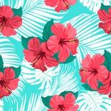 Τροπικά λουλούδια και φύλλα φοινικών στο υπόβαθρο seamless Στοκ εικόνες με δικαίωμα ελεύθερης χρήσης
