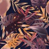 Τροπικά λουλούδια, φύλλα ζουγκλών, λουλούδι πουλιών του παραδείσου Στοκ Εικόνες