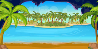 Τροπικά παραλία και τοπίο νησιών για το παιχνίδι, διανυσματική απεικόνιση, 1024x512 Στοκ Φωτογραφία