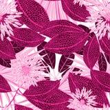 Τροπικά ρόδινα επισημασμένα λουλούδια σε ένα άνευ ραφής σχέδιο Στοκ εικόνες με δικαίωμα ελεύθερης χρήσης