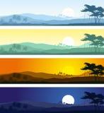 Τροπικά τοπία βουνών στις διάφορες ώρες της ημέρας Στοκ Εικόνες