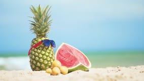 Τροπικά φρούτα θερινών μιγμάτων με το υπόβαθρο θάλασσας φιλμ μικρού μήκους