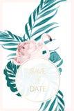 Τροπικά φύλλα φλαμίγκο καρτών γαμήλιας πρόσκλησης ελεύθερη απεικόνιση δικαιώματος