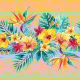 Τροπικά φύλλα και λουλούδια στο διακοσμητικό υπόβαθρο floral απεικόνιση σχεδίου ανασκόπησής σας Στοκ Φωτογραφίες