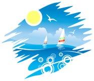 τροπικά windsurfers εμβλημάτων απεικόνιση αποθεμάτων
