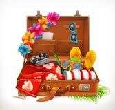 Τροπικές διακοπές Θερινές διακοπές, ανοικτή βαλίτσα διάνυσμα εικονιδίων εργαλείων Στοκ Εικόνα