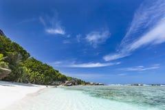 Τροπική άσπρη παραλία, Λα Digue, Σεϋχέλλες Στοκ φωτογραφία με δικαίωμα ελεύθερης χρήσης