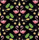 Τροπική διακόσμηση με τα εξωτικά πουλιά φλαμίγκο απεικόνιση αποθεμάτων