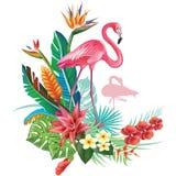 Τροπική διακόσμηση με Flamingoes και Trop Στοκ εικόνες με δικαίωμα ελεύθερης χρήσης