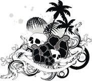 Τροπική δερματοστιξία μπλουζών κρανίων της Χαβάης διανυσματική απεικόνιση