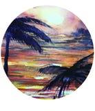 Τροπική θάλασσα ηλιοβασιλέματος φοινικών απεικόνισης watercolor διανυσματική απεικόνιση