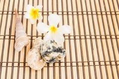 Τροπική θεραπεία Plumeria και πετρών στο χαλί μπαμπού Στοκ Φωτογραφίες