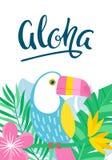 Τροπική κάρτα με τα φύλλα ζουγκλών και toucan Στοκ φωτογραφίες με δικαίωμα ελεύθερης χρήσης