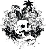 Τροπική κορδέλλα δερματοστιξιών κρανίων της Χαβάης διανυσματική απεικόνιση