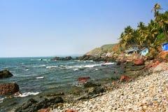 Τροπική παραλία σε Arambola, Goa, Ινδία Στοκ Φωτογραφίες