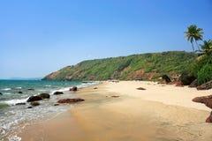 Τροπική παραλία σε Arambola, Goa, Ινδία Στοκ Εικόνα
