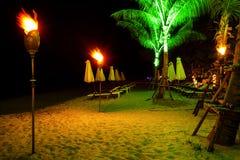 Τροπική παραλία στη νύχτα Στοκ Εικόνα