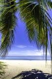 Τροπική παραλία και άσπρη άμμος Στοκ Εικόνες