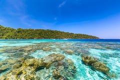 Τροπική παραλία νησιών και σαφές μπλε νερό λιμνοθαλασσών με το μπλε ουρανό στο νησί Surin kho, επαρχία Phang Nga, νότος της Ταϊλά Στοκ Εικόνα