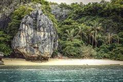 Τροπικοί βράχος απότομων βράχων τοπίων παραλιών νησιών και φοίνικες και τυρκουάζ θάλασσα Στοκ φωτογραφία με δικαίωμα ελεύθερης χρήσης
