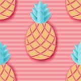 Τροπικός ανανάς εγγράφου Άνευ ραφής σχέδιο φρούτων θερινών εξωτικό ζουγκλών απεικόνιση αποθεμάτων
