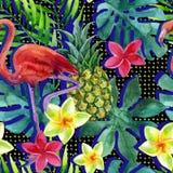 Τροπικός ανανάς, λουλούδια και φύλλα watercolor με τις σκιές ελεύθερη απεικόνιση δικαιώματος