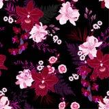Τροπικός εξωτικός, ορχιδέα, δασικό λουλούδι στο καθιερώνον τη μόδα υπόβαθρο monotine νύχτας purpke με τα φύλλα φοινικών και φτέρη διανυσματική απεικόνιση