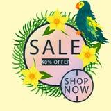 Τροπικός παπαγάλος με το πέταλο και τα φύλλα λουλουδιών 40% σχέδιο προτύπων εμβλημάτων πώλησης Μεγάλη ειδική προσφορά πώλησης Θερ διανυσματική απεικόνιση