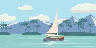 Τροπικός παράδεισος Τυρκουάζ ωκεανός, νησί, φοίνικες, γιοτ, διανυσματική απεικόνιση απεικόνιση αποθεμάτων