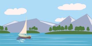 Τροπικός παράδεισος Τυρκουάζ ωκεανός, νησί, φοίνικες, γιοτ, διανυσματική απεικόνιση ελεύθερη απεικόνιση δικαιώματος