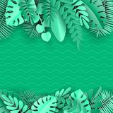 Τροπικός φοίνικας εγγράφου, πλαίσιο φύλλων monstera Θερινό τροπικό φύλλο Εξωτική της Χαβάης ζούγκλα Origami, υπόβαθρο καλοκαιριού ελεύθερη απεικόνιση δικαιώματος