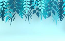 Τροπικός φοίνικας εγγράφου, πλαίσιο φύλλων monstera Θερινό τροπικό φύλλο Εξωτική της Χαβάης ζούγκλα Origami, υπόβαθρο καλοκαιριού απεικόνιση αποθεμάτων