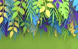 Τροπικός φοίνικας εγγράφου, πλαίσιο φύλλων monstera Θερινό τροπικό φύλλο Εξωτική της Χαβάης ζούγκλα Origami, υπόβαθρο καλοκαιριού διανυσματική απεικόνιση
