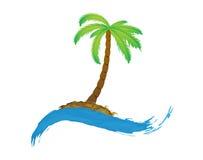 Τροπικός φοίνικας στο νησί με τη θάλασσα. ελεύθερη απεικόνιση δικαιώματος