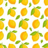 Τροπικό άνευ ραφής σχέδιο λεμονιών φρούτων ελεύθερη απεικόνιση δικαιώματος