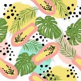 Τροπικό άνευ ραφής σχέδιο με τα φύλλα και papayas ύφους doodle διανυσματική απεικόνιση