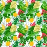 Τροπικό άνευ ραφής σχέδιο φρούτων με το floral υπόβαθρο φύλλων ζουγκλών Στοκ Εικόνες