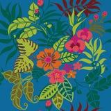 Τροπικό άνευ ραφής σχέδιο φυτών, τροπικά φύλλα Jungel, άμπελοι και μπλε FlowersOn απεικόνιση αποθεμάτων