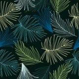 Τροπικό άνευ ραφής σχέδιο φύλλων, διάνυσμα Στοκ Εικόνες